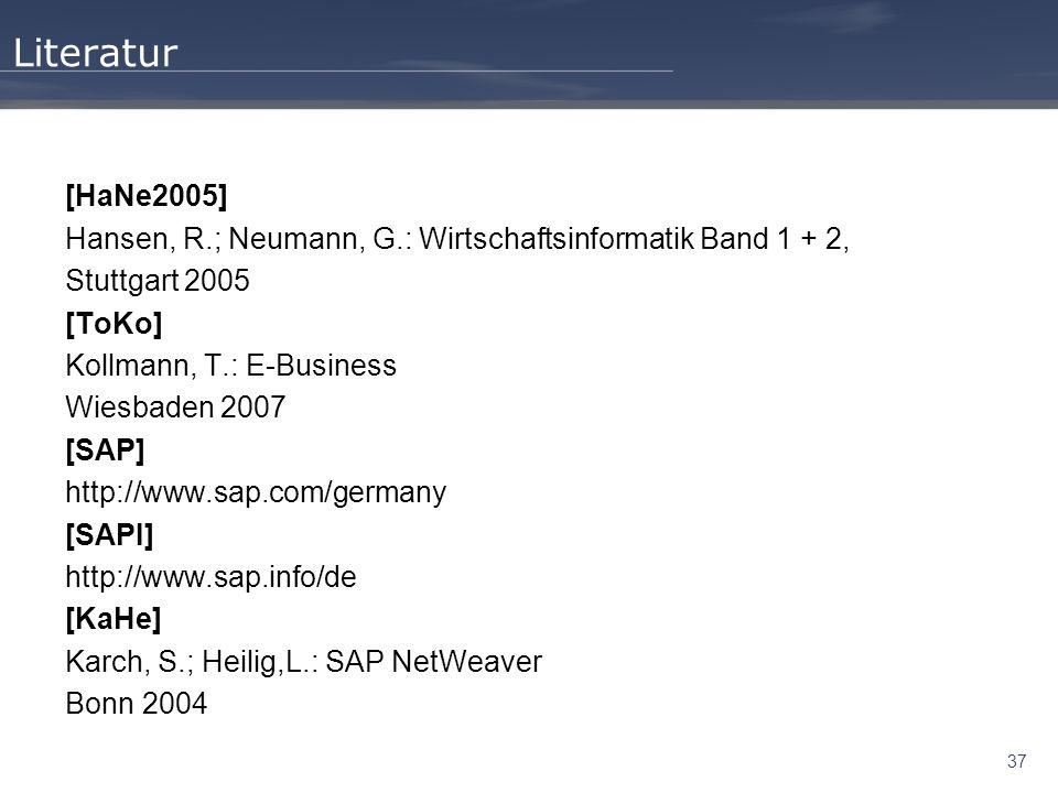 Literatur [HaNe2005] Hansen, R.; Neumann, G.: Wirtschaftsinformatik Band 1 + 2, Stuttgart 2005. [ToKo]